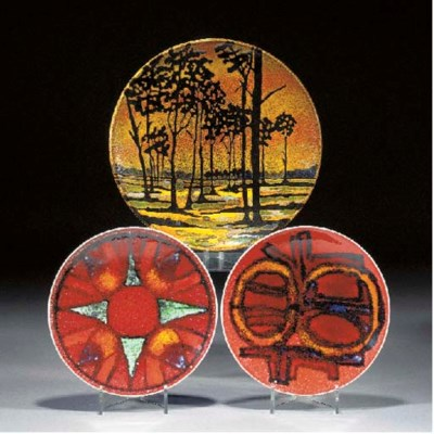 Five Poole Pottery chargers