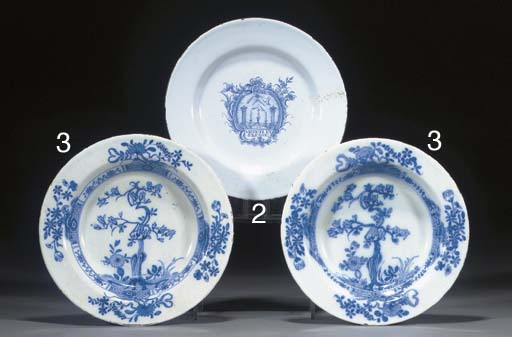 A pair of blue and white delft