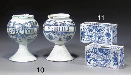 Two Lambeth delft blue and whi