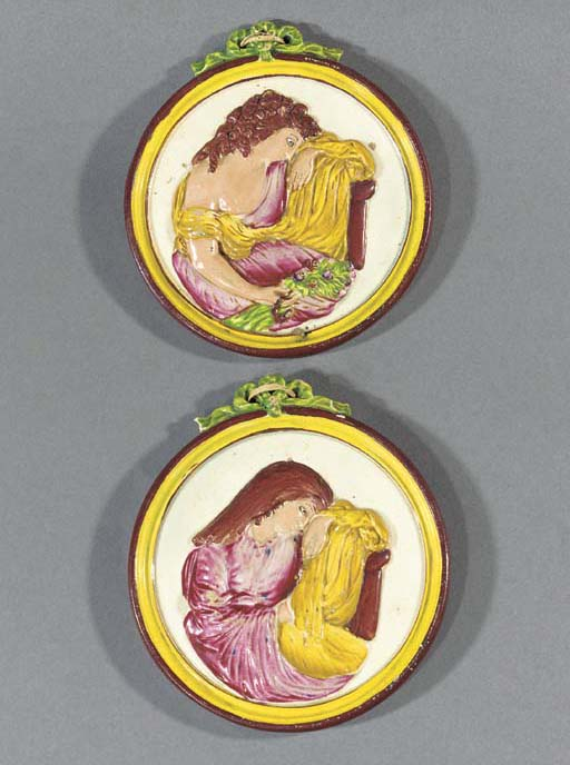 A pair of English pearlware da