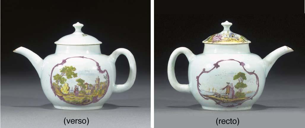 A Vauxhall globular teapot and