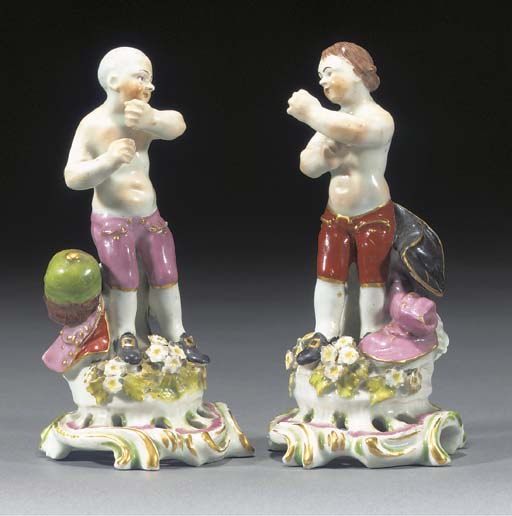 A pair of Bow figures of pugil