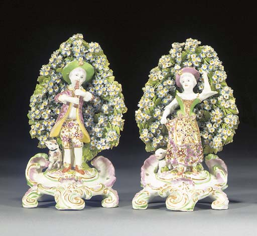 A pair of Bow figures of a she