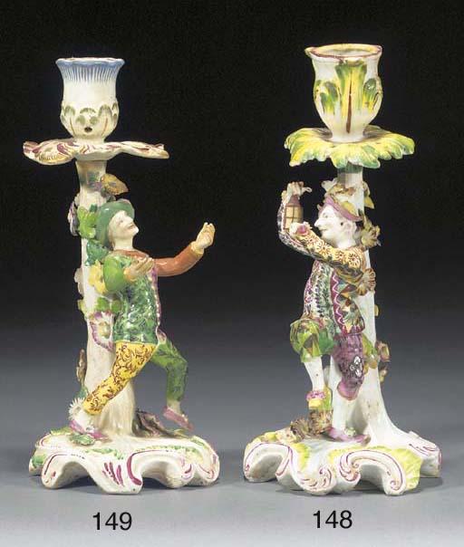 A Derby Harlequin candlestick