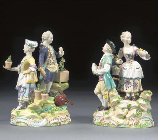 A pair of Derby figure groups