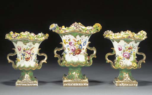 A garniture of three English p