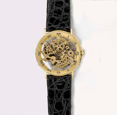 IWC, AN 18ct. GOLD SKELETONISE