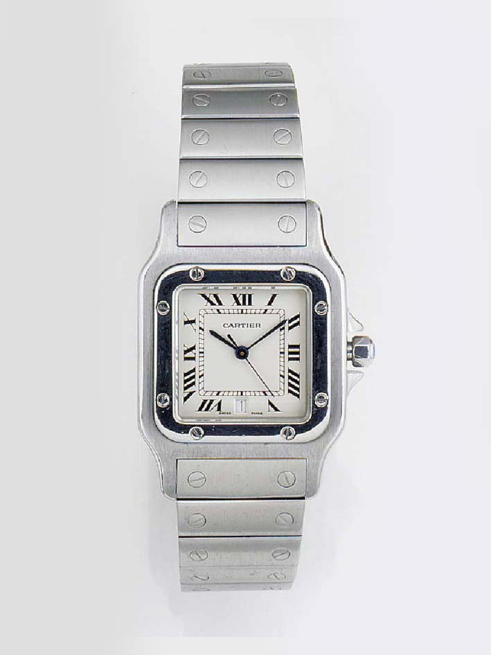 CARTIER, A STAINLESS STEEL CAL