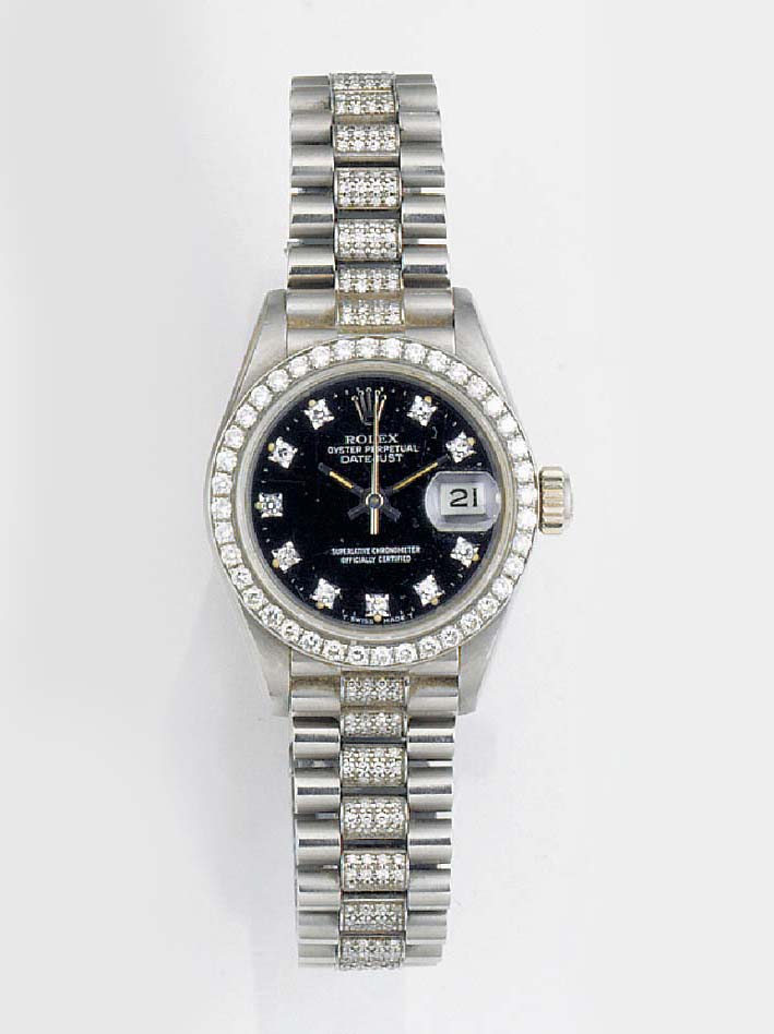ROLEX, A LADY'S 18ct. WHITE GO