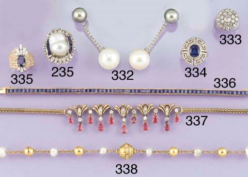 A baroque cultured pearl, diam