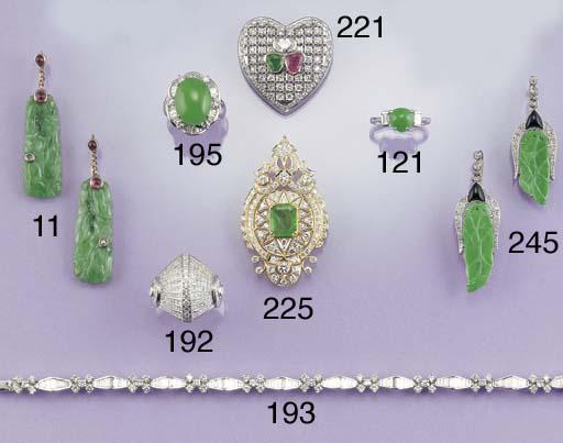 A pair of carved jade, diamond