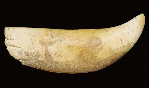 A SCRIMSHAW DECORATED WHALE'S