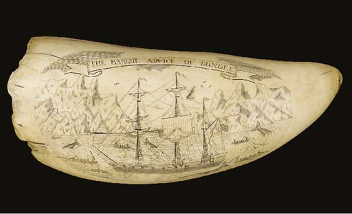 A LARGE SCRIMSHAW DECORATED WH