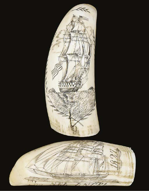 TWO SCRIMSHAW DECORATED WHALE'