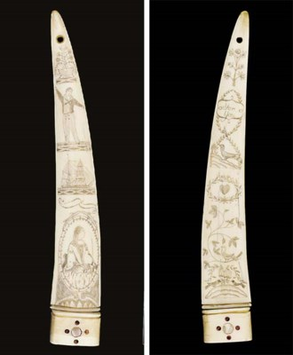 A SCRIMSHAW DECORATED TOOTH