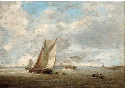 Petrus Paul Schiedges 1813 1876 A Paddle Tug And