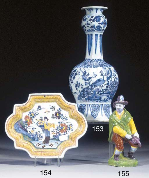 A Delft blue and white bottle