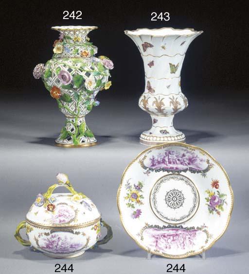 A Meissen reticulated vase