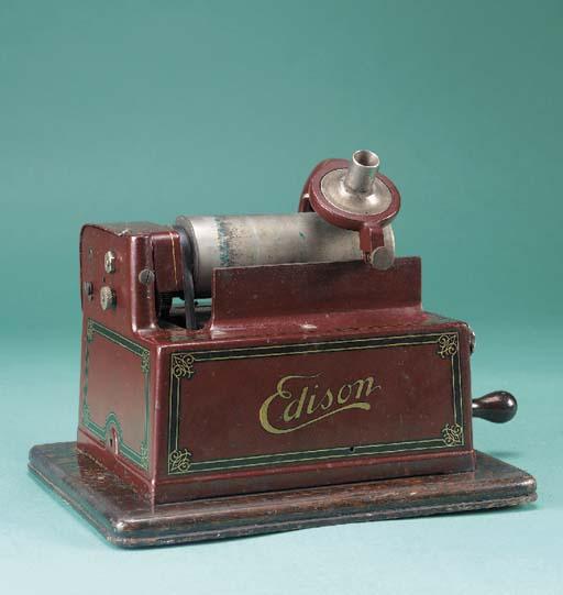 An Edison red Gem phonograph