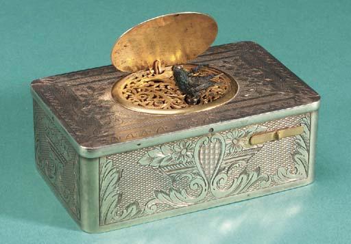 A silver-gilt singing bird box
