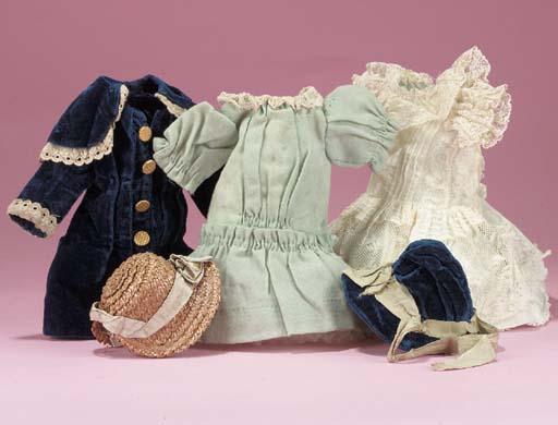 A blue velvet dolls' frock of