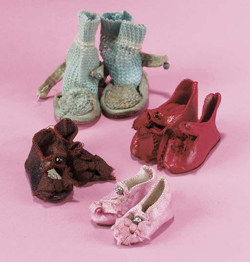 Four pairs of Jumeau doll shoe