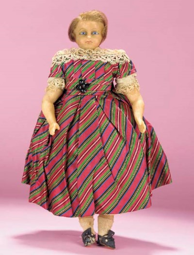 An English poured-wax boy doll