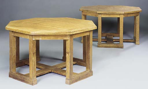 A PAIR OF OAK LIBRARY TABLES