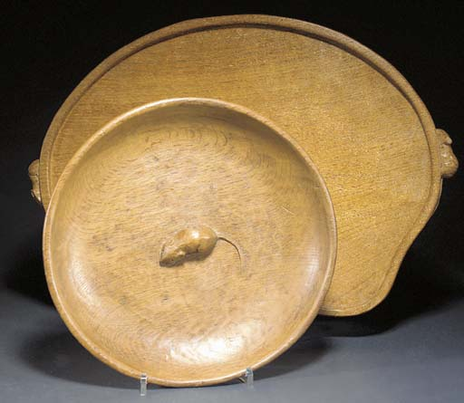 AN OAK TRAY AND BOWL by Robert