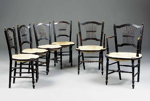 A SET OF SIX ROSSETTI CHAIRS A