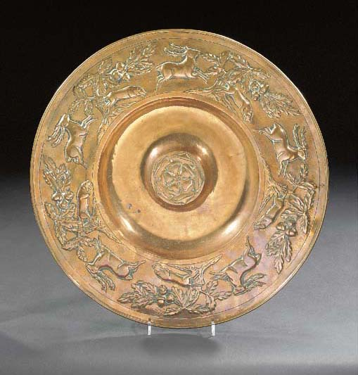 A RARE COPPER ROSE WATER DISH