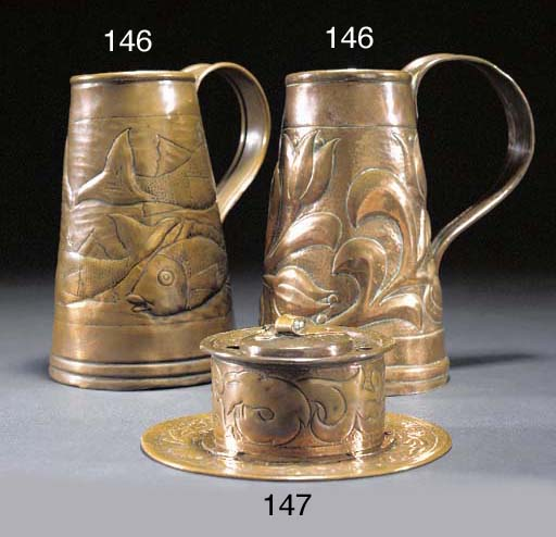 TWO COPPER TANKARDS attributed