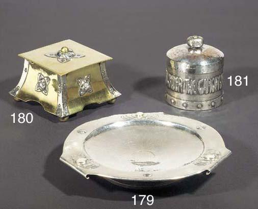A SILVERED COPPER TOBACCO JAR