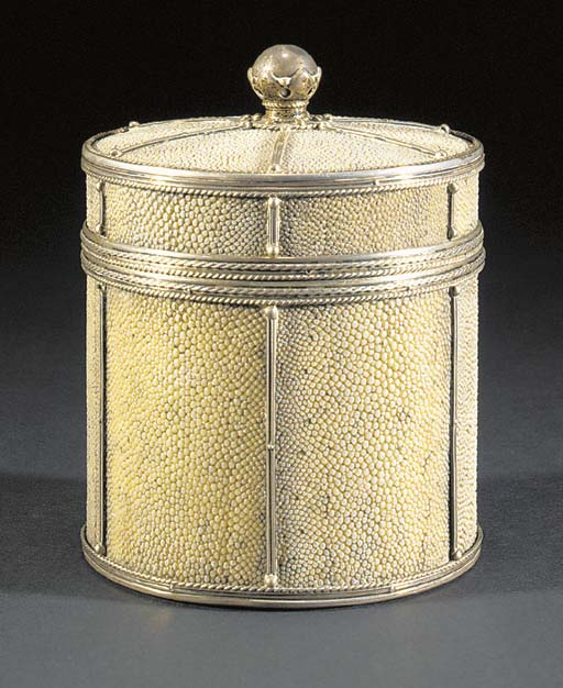 A WHITE METAL AND SHAGREEN BOX