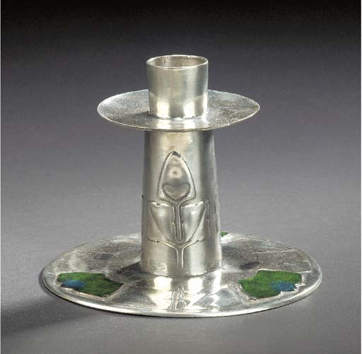 A PEWTER AND ENAMEL CANDLESTIC