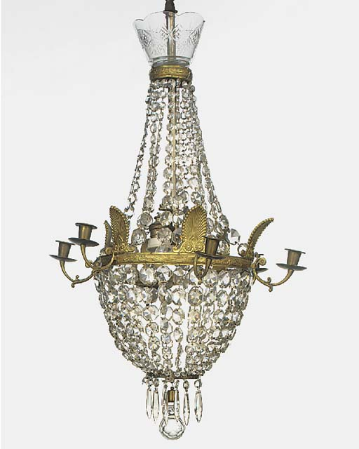A gilt metal and glass six lig