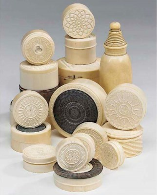 A collection of ivory and ebon