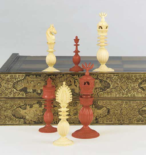 A Cantonese carved ivory chess