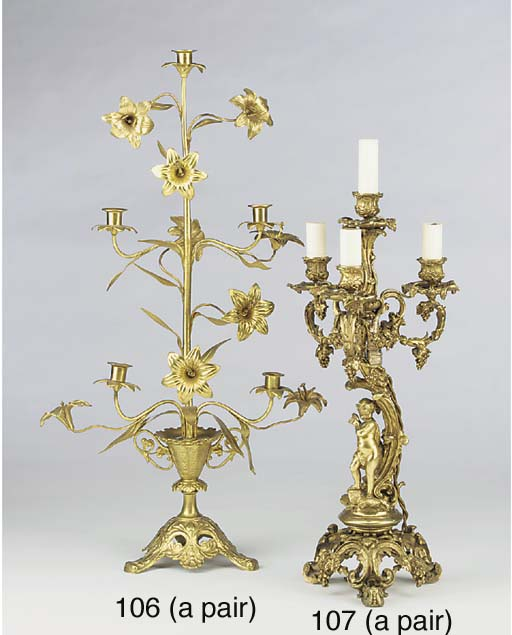 A pair of French gilt metal fi