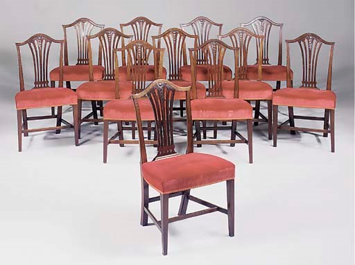 A set of tweleve mahogany dini