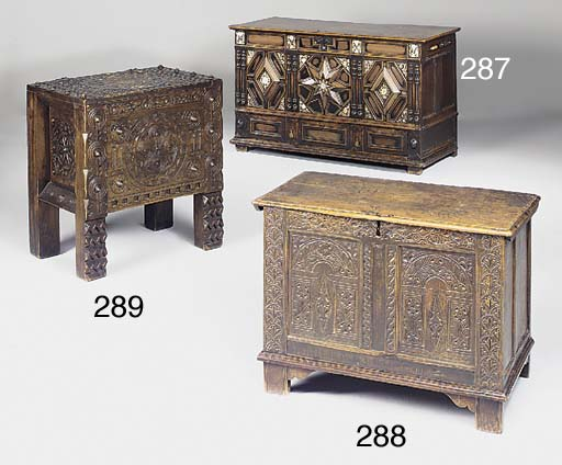 An oak and fruitwood chest, 18