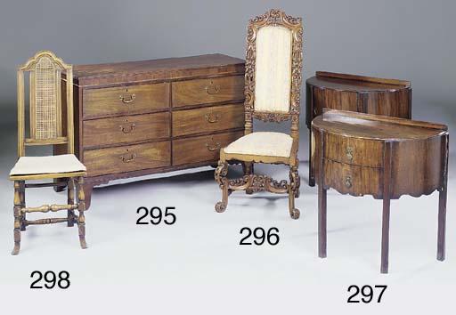 A carved oak high back chair,