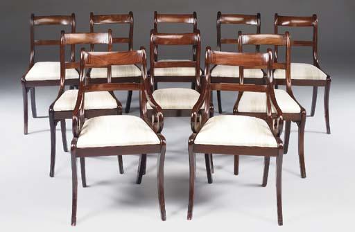 a set of ten mahogany dining c