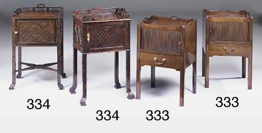 A pair of mahogany tambour fro