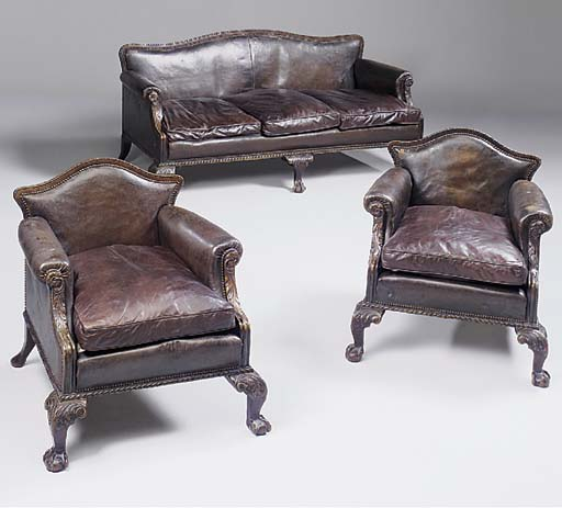 A mahogany and leather upholst