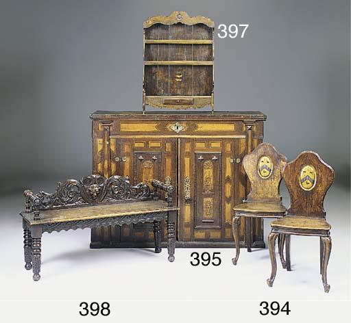 A pair of Victorian oak hall c