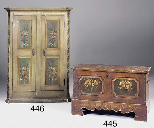 A painted pine chest, Tyrolean