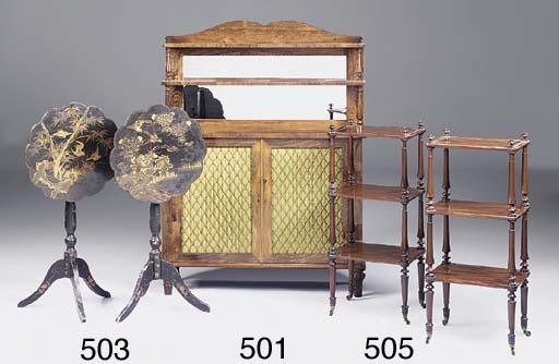 A pair of mahogany three tier
