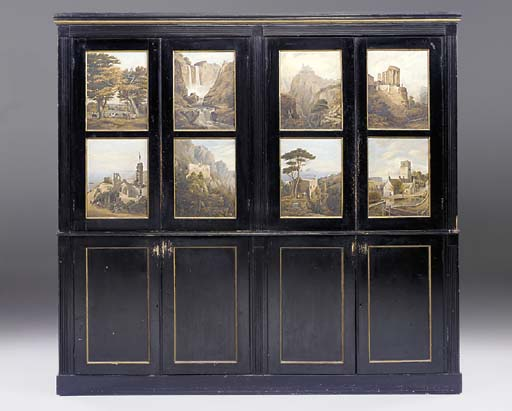 A painted bookcase, late 19th