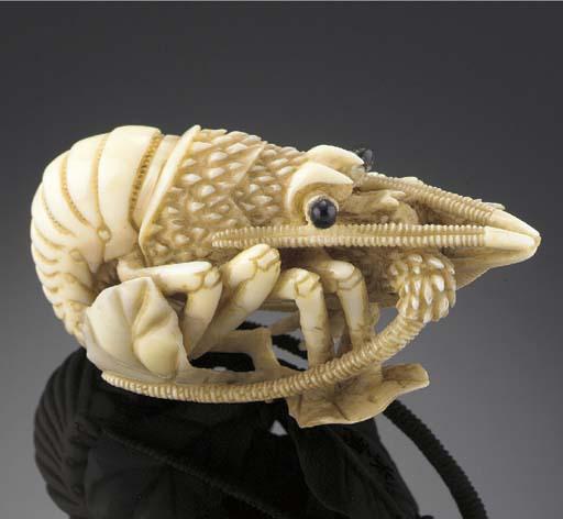 An ivory netsuke of a crayfish